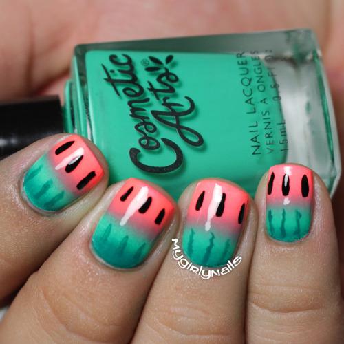 nails nailart nail art watermelon watermelon nails ombre gradient ombre nails gradient nails
