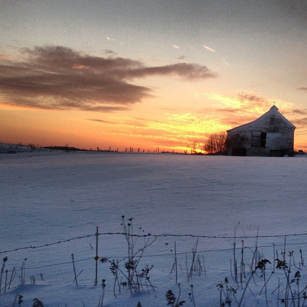 More #barn. Winter sunset in #Maine.