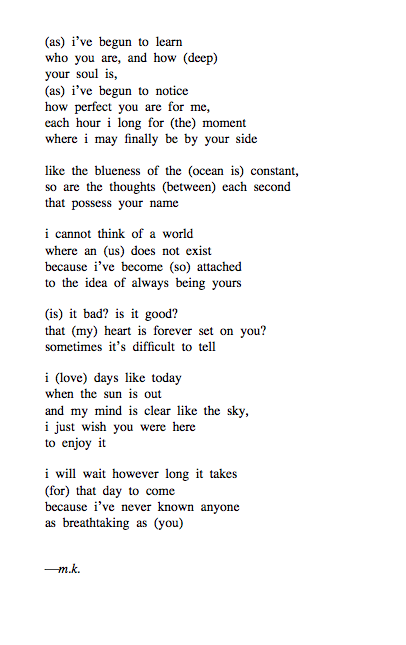 conveys:  thought i would try out this style again ⋆ a requested poem about long distant relationships ⋆ as deep as the ocean is between us, so is my love for you