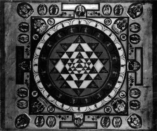 the-reality-issue:  The Sri Yantra // drawn from nine triangles, four pointed downward and five pointed upward, thus forming triangular fragments around a central 