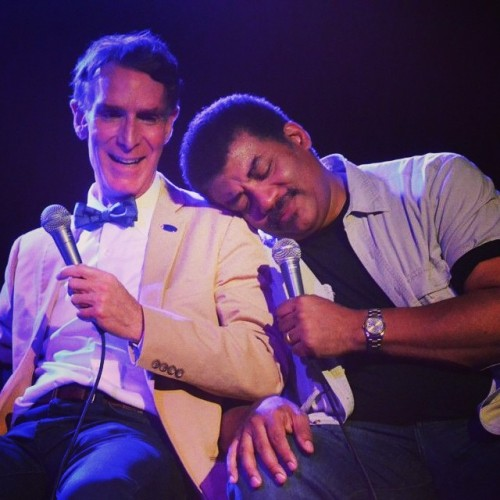 startalkradio:  #tbt to the time @thescienceguy & @neildegrassetyson demonstrated true #friendship (in other words, I don't know what's happening in this photo, but it's cute!)