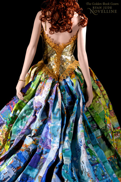 zolabooks:  Storybook gown constructed entirely out of recycled and discarded children's Golden Books. Designer Ryan Novelline created the bodice from the golden spines of these classic children's books and sewed together the skirt from their illustrated pages.
