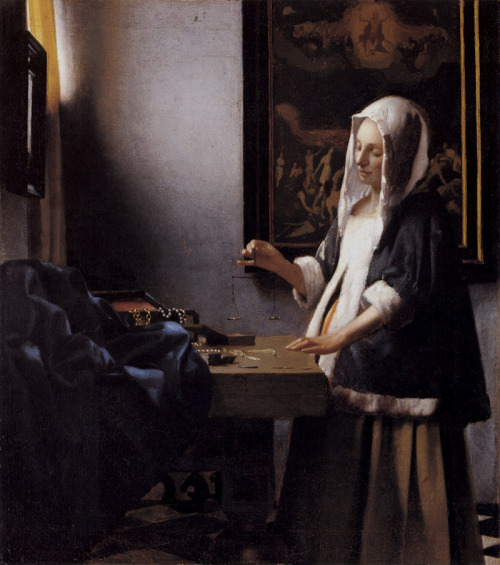 amandatolleson:  cavetocanvas:  Johannes Vermeer, Woman Holding a Balance, c. 1644  i am so frustrated looking at paintings where people in a room or space with a scenic backround can be so attractive and I need to experiment with this cause what.   Yep. Background is usually a pain in the neck when you want to keep the focus on your figure. But look at Vermeer *le sigh*