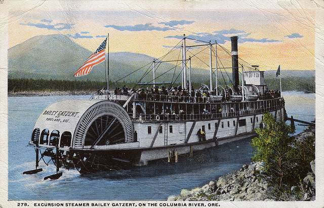 americabymotorcycle:  Excursion steamer, Bailey Gatzert, on the Columbia River by OSU Special Collections & Archives : Commons on Flickr.