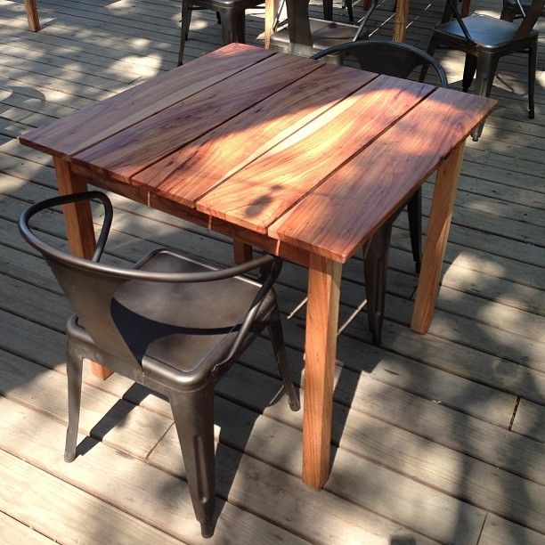 Like the new tables on our Cellars' patio? They were made locally with reclaimed pecan wood!