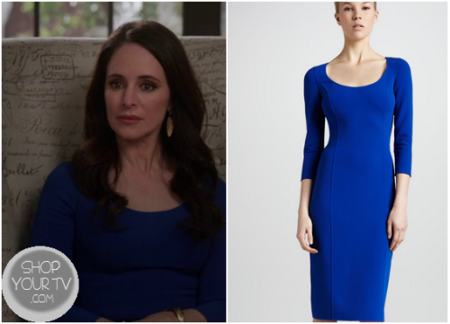 Victoria Grayson (Madeleine Stowe) wears this blue form fitting dress in this week's episode of Revenge.It is the Michael Kors Fitted Crepe Dress.  Buy it HERE for $1995