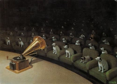 hoveringcat:  Michael Sowa is a German artist, best known for his wonderfully whimsical paintings (you might have even seen his work in the film 'Amélie'). His artwork never fails to raise a smile.
