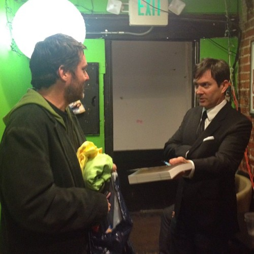 rikilindhome: Doug Benson and Tom Lennon prepare. #douglovesmovies    For some very strange, very uncomfortable reason, I am very happy to see this photo.