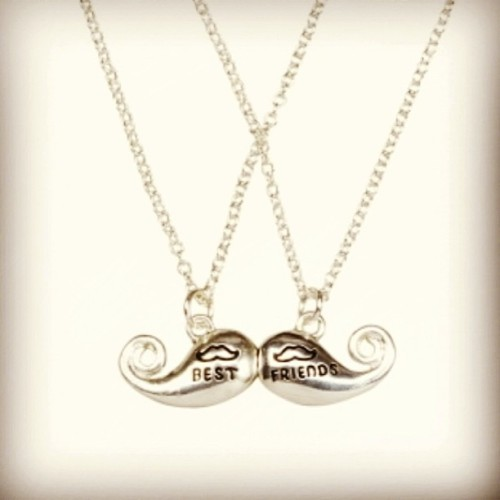 We need these! @bernice_hughes #bestfriends #mustache #bff #necklace #muschenecklaces #amazing #awesome