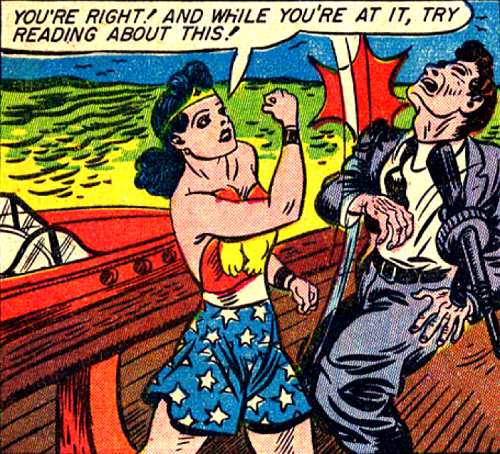superdames:  Try reading about this! It's Wonder Woman Weekend! —Sensation Comics #5 (1942) by William Moulton Marston & H.G. Peter  lololol