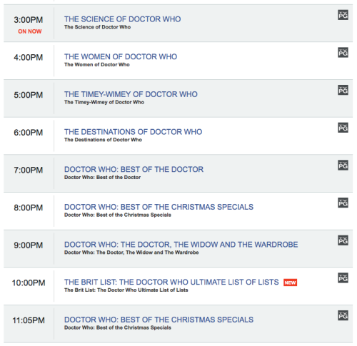 This is the BBC America schedule for the rest of the day today. When they find the BBC America control room staff bound and in the closet, we will swear that we had nothing to do with it.