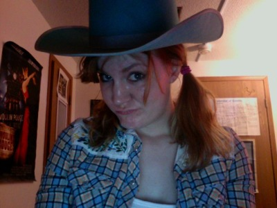 spectacularfailure: Getting ready for Donovan's cowboys and indians themed going away party. I think I might have missed my calling. All happy thoughts in my mind ceased to exist, including naked Rihanna, after seeing this picture. Thank you.