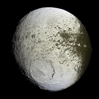 What has happened to Saturn's moon Iapetus?    Vast sections of this strange world are dark as coal, while others are as bright as ice.    The composition of the dark material is unknown, but infrared spectra indicate that it possibly contains some dark form of carbon.   Iapetus also has an unusual equatorial ridge that makes it appear like a walnut.    To help better understand this seemingly painted moon, NASA directed the robotic Cassini spacecraft orbiting Saturn to swoop within 2,000 kilometers in 2007.  Pictured above, from about 75,000 kilometers out, Cassini's trajectory allowed unprecedented imaging of the hemisphere of Iapetus that is always trailing.    A huge impact crater seen in the south spans a tremendous 450 kilometers and appears superposed on an older crater of similar size.  The dark material is seen increasingly coating the easternmost part of Iapetus, darkening craters and highlands alike.    Close inspection indicates that the dark coating typically faces the moon's equator and is less than a meter thick.  A leading hypothesis is that the dark material is mostly dirt leftover when relatively warm but dirty ice sublimates.  An initial coating of dark material may have been effectively painted on by the accretion of meteor-liberated debris from other moons.  This and other images from Cassini's Iapetus flyby are being studied for even greater clues.