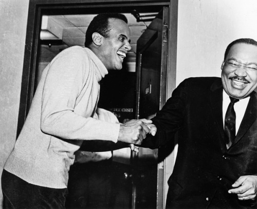 Dr. Martin Luther King Jr. and Harry Belafonte share a good laugh together. This photo was released by Alfred A. Knopf last year when they published Mr. Belafonte's memoir, My Song.