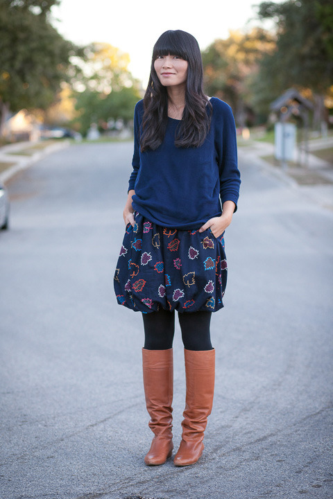 2012. slouchy cool. dolman sleeved sweatshirt by j.crew. la la leaves dress by marc jacobs. merona tights. pour la victoire boots.some days i like tailored clothing, and other days i like slouchy stuff. i wore this easygoing outfit on thursday.i also wear sweatshirts at home, oftentimes over leggings. lately i love to spend evenings near the fireplace and read a book (or cut things out for school). it's a nice, old fashioned sort of feeling.i am currently reading a practical wedding by meg keene. what are you reading? the look | similar sweater | similar dress | similar boots
