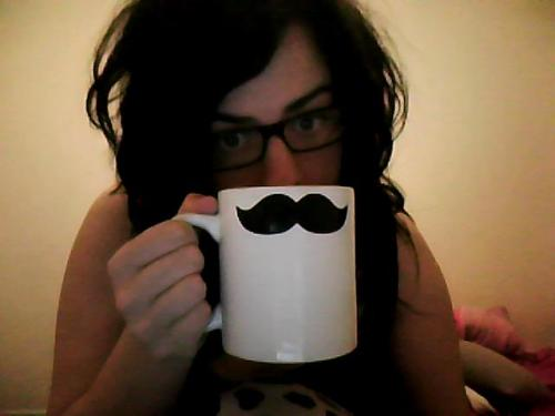 Fetching moustache, gigantic mug of milk and hair like Edward Scissorhands because I have once again woken up in the early hours for no reason. Rad.
