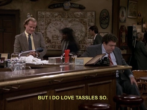 "fuzzytypewriter:  Something sinister happened between CHEERS episode 6x14 ""And God Created Woodman"" and FRASIER episode 1x24 ""My Coffee With Niles."""
