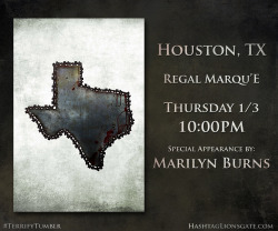 "Houston, TX - Get ready for the return of Leatherface…  On Thursday Jan 3rd at 10 PM, hit up Regal Marqu'E to catch a Tumblr Screening of #Texas Chainsaw 3D featuring a special appearance by Marilyn Burns. You'll walk away with custom Texas Chainsaw 3D-glasses from RealD and an exclusive limited edition Vice ""Gallery of Horrors"" poster. Click the picture to buy tickets now!"