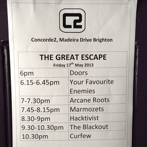 Stage times for tonight.