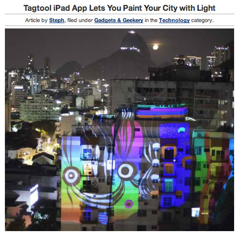 An iPad, a projector and an app called Tagtool are all you need to turn your city into a virtual canvas for your own custom light art and animations. Created by Vienna-based OMAi, Tagtool enables you to create art with your fingers on an iPad and project it large-scale onto the sides of buildings.