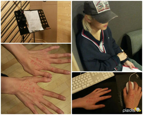 "130115 TWITTER UPDATE  Recording while suffering from a cold, this is what Ren wrote on his hands. ""You can do it! Let's go Choi Ren!!"" Telling himself that he is okay… Show Ren your LOVE to cheer him up!"