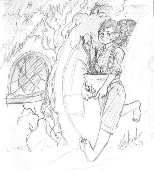"A quick sketch of a female Bilbo.  ""Bilbelle Baggins."""