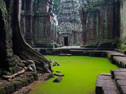 thekhooll:  Tomb Raider Ta Prohm is the modern name of a temple at Angkor, Siem Reap Province, Cambodia, built in the Bayon style largely in the late 12th and early 13th centuries and originally called Rajavihara. Located approximately one kilometre east of Angkor Thom and on the southern edge of the East Baray, it was founded by the Khmer King Jayavarman VII as a Mahayana Buddhist monastery and university.