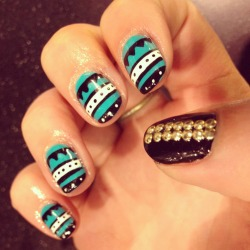 Simple tribal with double stud thumbs by Wah gurl Sara #nails #nailart