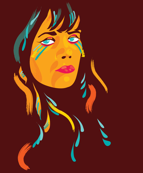 Illustrated portrait of Bat For Lashes by Ben the Illustrator. To check out more Pop Portraits click here!