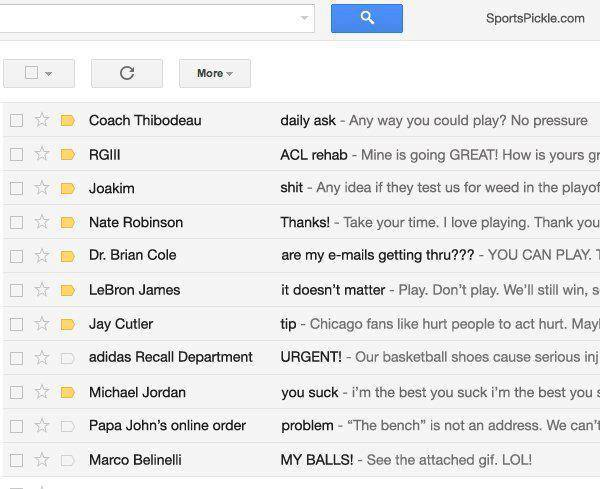 "lovingbasketball:  Humorous ""hacked"" Derrick Rose email account"