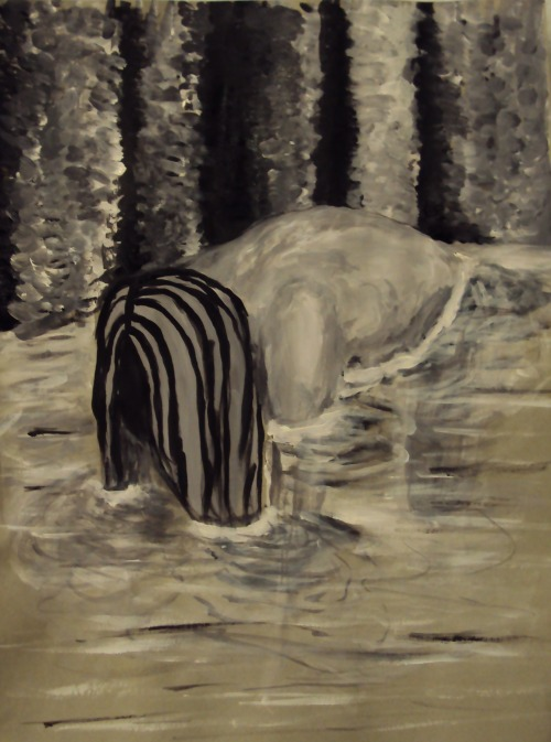 """Girl in the Water"" acrylics on toned gray paperBeth Burford"