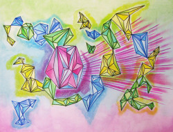 lube-up:  Prisms - Watercolor, pastel and marker