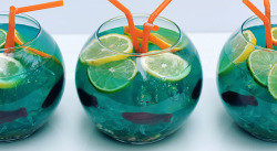 itspartyrehab:  Ultimate Fish Bowl Ingredients & Measurements: 10 oz. Vodka 10 oz. Coconut Rum 6 oz. Blue Curacao 12 oz. Sweet & Sour Mix 20 oz. Pineapple Juice 32 oz. Sprite Blue Food Coloring 3 Small Fish Bowls 1 box of Nerds Candy 12-16 Swedish Fish Ice Fruit Slices (3 each - lime, lemon, and orange) Drinking Straws Instructions:Mix liquors, sweet-and-sour mix, pineapple juice and soda in a large container. Cover tightly and refrigerate until ready to serve. To  serve, divide the Nerds candy between the three fishbowls and place at the bottom of the bowl. Add ice. Arrange the fish around the outside of the fishbowls - use the ice to hold them against the sides. Carefully add the punch mixture, dividing equally. Top with the fruit slices and straws. Top with a little lemon-lime soda, for bubbly-ness. Enjoy!