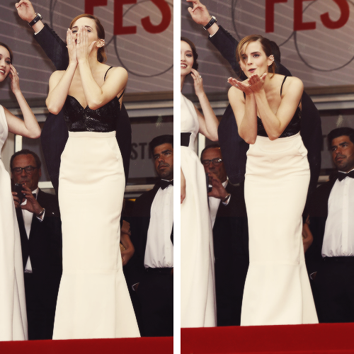 Emma Watson being cute at Cannes Film Festival  reblogging for that dress.