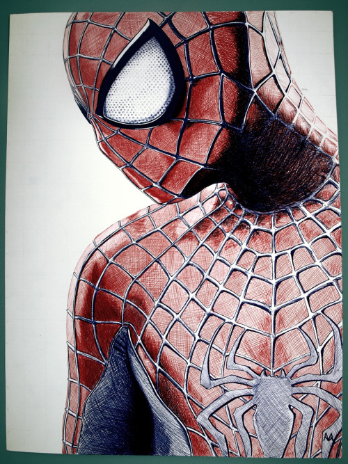 drawingtheabsurd:  Have no fear! Spidey is here! [Boli BIC en papel tamaño A3] [Ballpoint pen on A3 paper]