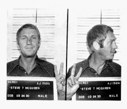 Famous mugshots of Steve McQueen, taken after his arrest for drunk driving in Anchorage, Alaska (1972).