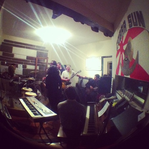 Great iPhone fish eye shot of our live room during a rehearsal!