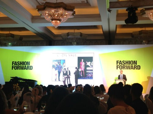 CFDA CEO, Steven Kolb making a keynote speech at Fashion Forward Dubai closing luncheon.