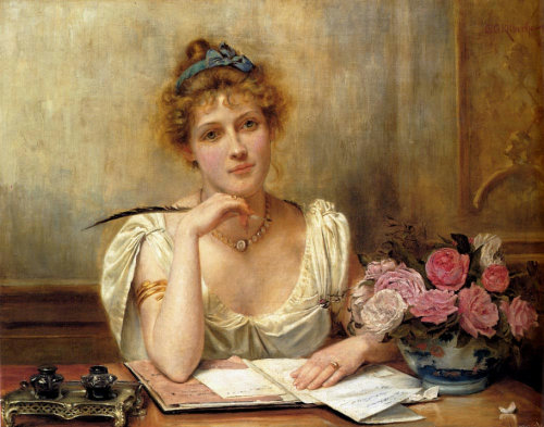 books0977:  Penning A Letter. George Goodwin Kilburne (English. 1839-1924). Oil on canvas. Kilburne was a London genre painter, watercolourist and engraver. His work is mostly genre set in 17th Century costume, or charming scenes of Victorian life. Many of his pictures became popular through prints.