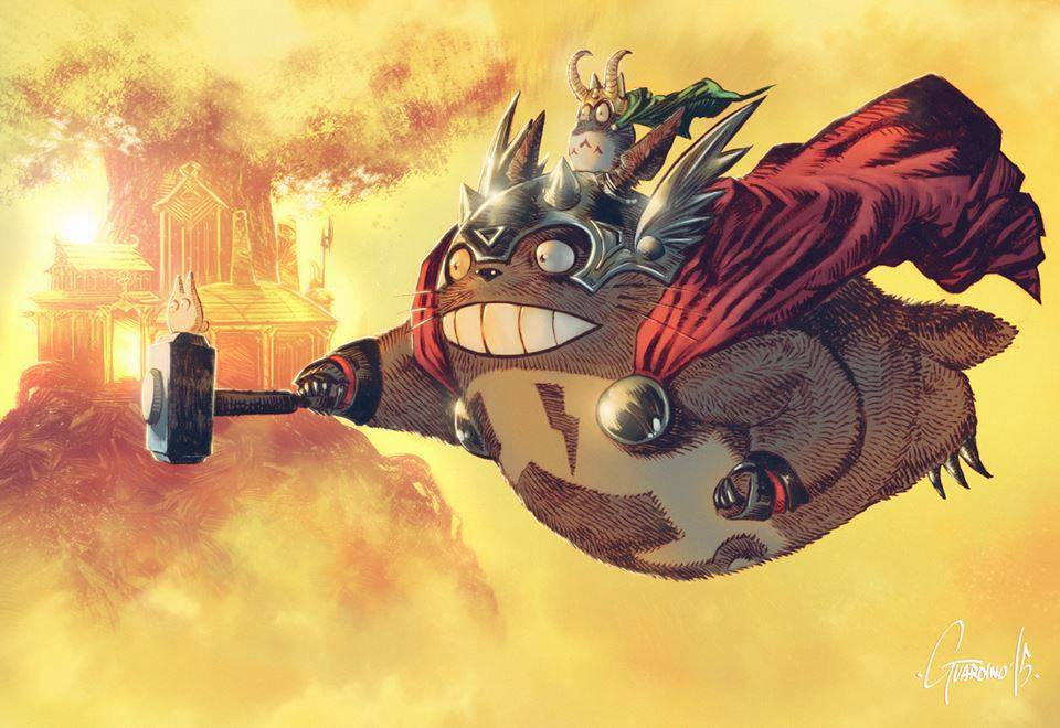 Thor x My Neighbour Totoro by Andrea Guardino
