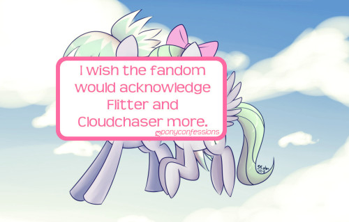 I wish the fandom would acknowledge Flitter and Cloudchaser more. I think they're pretty cool background characters.