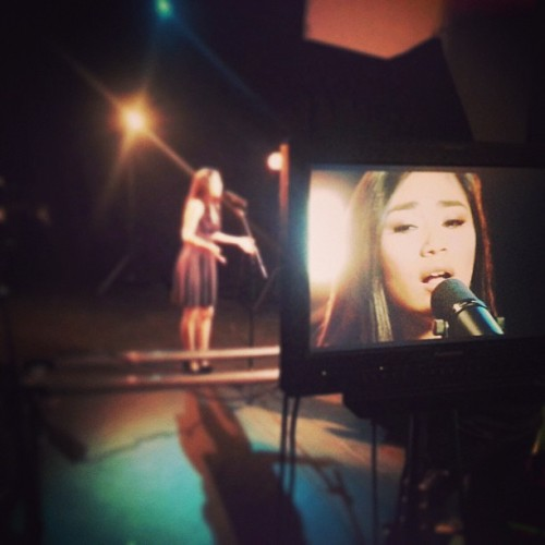 "Jessica Sanchez in our studio recording her take on a #WhitneyHouston song for our upcoming ""Week of Whitney"""