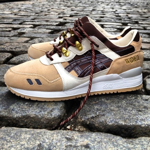 "ASICS GEL LYTE III BY WOEI To celebrate Rotterdam sneaker store Woei's fifth anniversary, the sneaker boutique collaborated with Asics to provide their take on the Gel Lyte III dubbed the ""Cervidae"". The brown, tan, and white color combination is a direct reference tothe deer family the shoe is named for. Additional features include replacing upper eyelets with metal trail hooks, zigzag stitching on the toe box, and 3M detailing. See the entire Woei curated product and sneaker selection HERE."