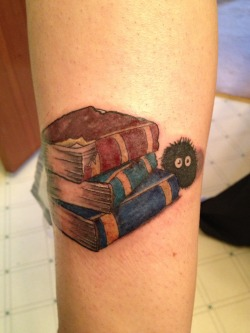 fuckyeahtattoos:  I love literature and I love soot sprites. The soot sprite was a last minute add-on. I thought it was better than an apple. Done by Luc at Evolution Ink in Winnipeg, Manitoba, Canada.