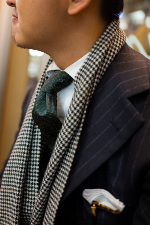 thearmoury:  Alan in Liverano flannel and Drake's scarf  #scarf #suit