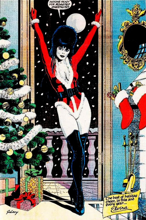 Elvira's Haunted Holidays comic (1987) Illustration by Paul Gulacy