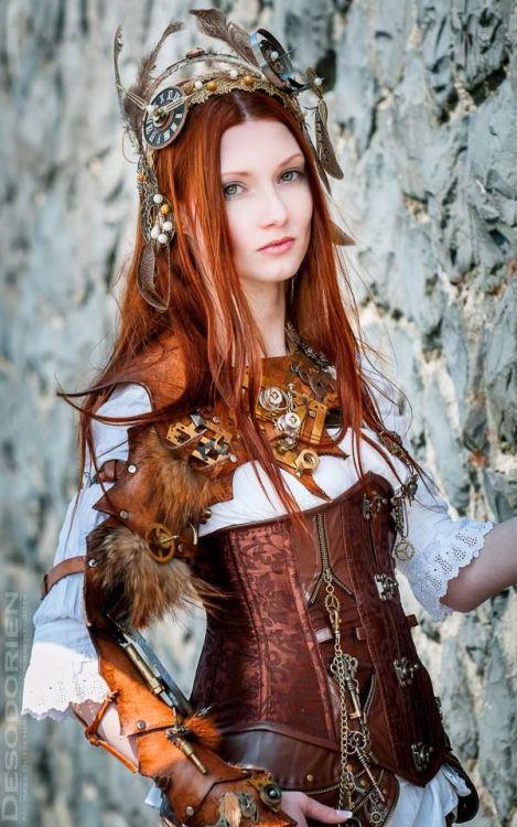 fashion red head steampunk corset steam punk steampunk fashion steampunk tendencies steampunk girls