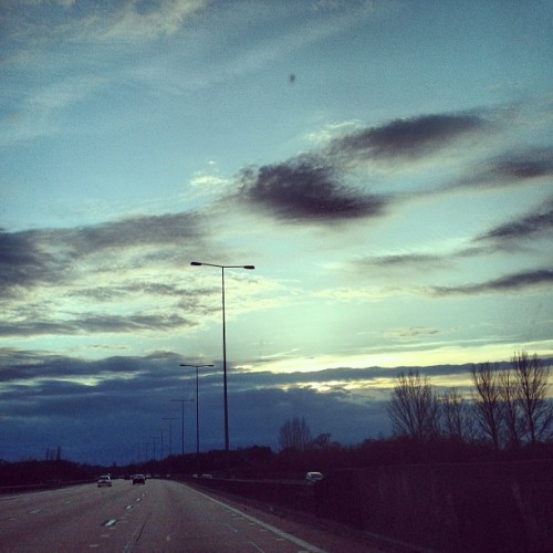 #driving home, more #clouds #sky #cloudporn #skyporn #road #motorway #dusk #blue #bluesky #m25