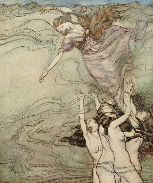 enchantingimagery:  The water Nymphs, that in the bottom plaid,/Held up their pearled wrists and took her in An Arthur Rackham illustration for Comus