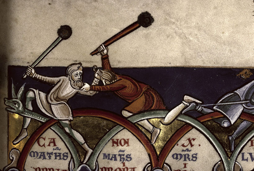 French Bible portrays two men in combat with maces